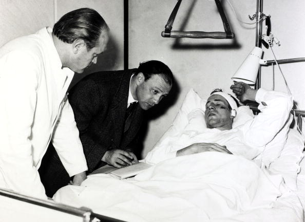 Aviation Disasters. Sport. pic: February 1958. Manchester United's Bobby Charlton lies in a German hospital after being injured in the Munich Air Disaster in which 23 people died, 8 being Manchester United footballers.