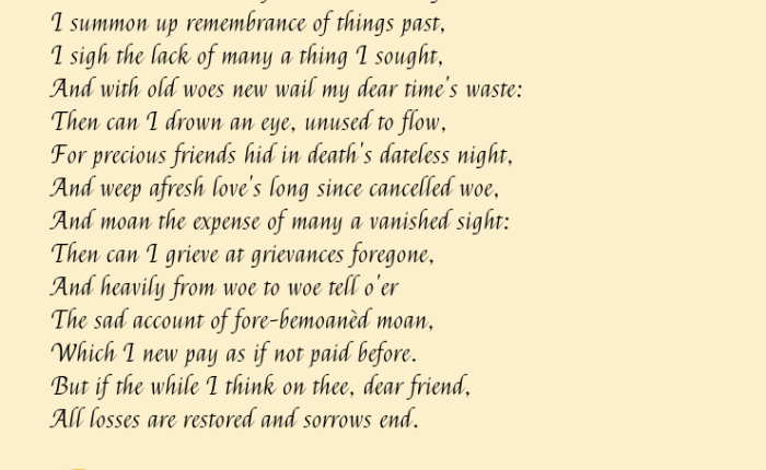 """""""When to the sessions…"""" (sonnet30)"""