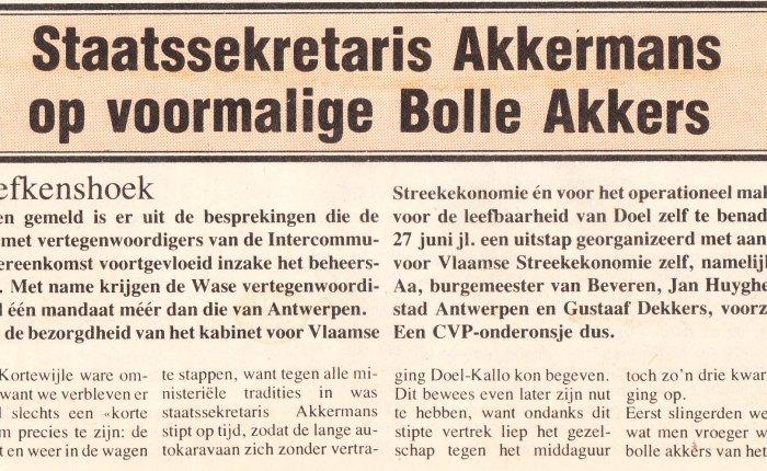 Veertig jaar geleden: staatssecretaris Akkermans op voormalige BolleAkkers