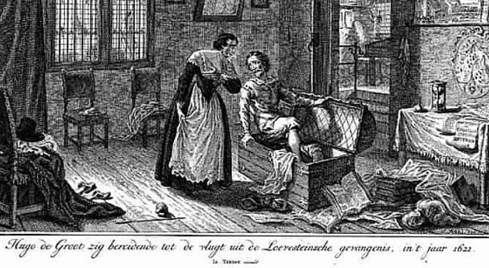 400 jaar geleden: Hugo Grotius ontsnapt inboekenkist