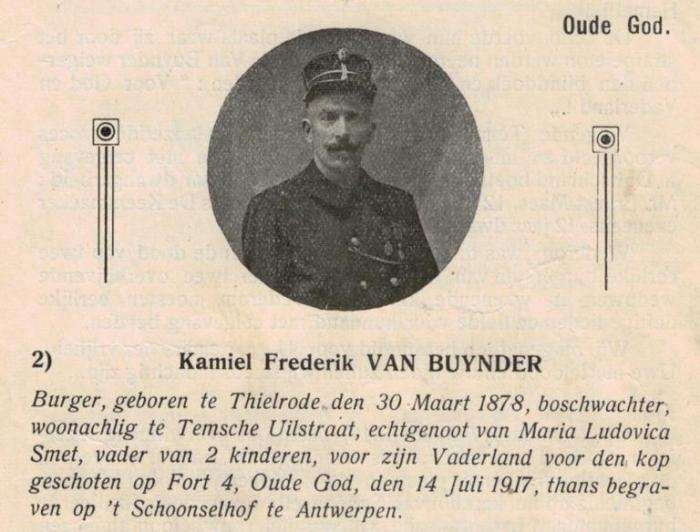 Honderd jaar geleden: Kamiel Van Buynder, gefusilleerd tijdens WO I wegens'spionage'