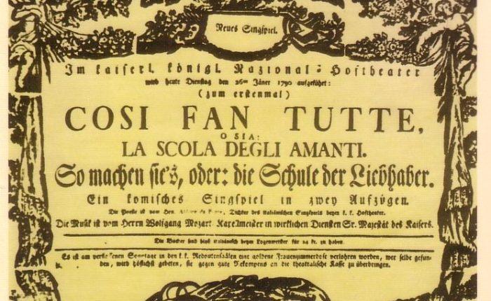 """230 jaar geleden: de oerpremière van """"Cosi fantutte"""""""