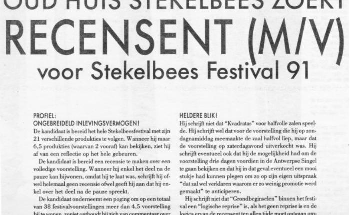 Dertig jaar geleden: Oud Huis Stekelbees zoekt recensent(m/v)