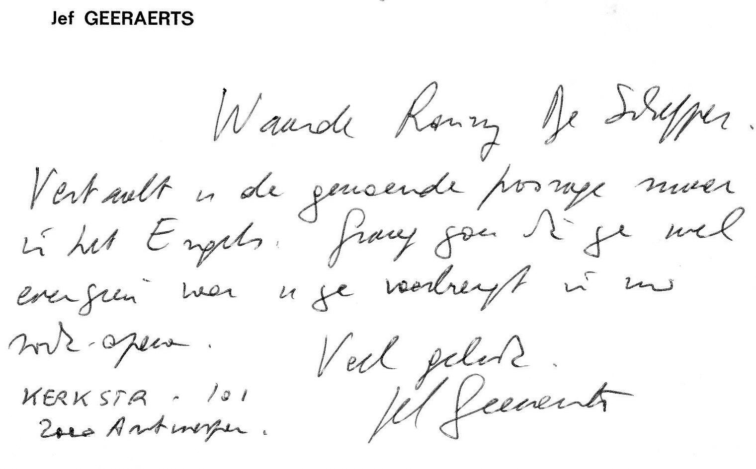 83 briefje van Jef Geeraerts
