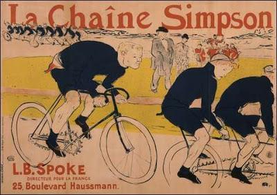 Lautrec_poster,_Huret_using_a_Simpson_chain_behind_the_Gladiator_tandem_pacer_at_Velodrome_de_la_Seine_circa_1890