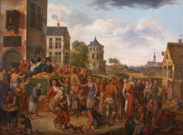 Schilderij van OCMW Temse op Gentse expo over armoede in België sinds1800