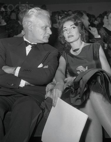 Maria Callas and Antonio Ghiringhelli at a Movie Premiere