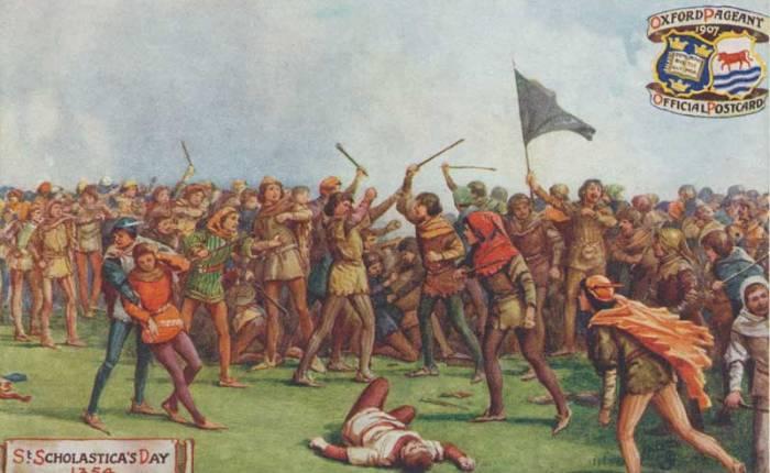 665 jaar geleden: studenten en inwoners op devuist