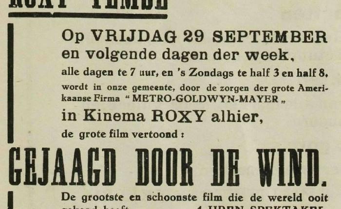 """Zeventig jaar geleden: """"Gone with the wind"""" in cinema Roxy(Temse)"""