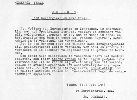 75 jaar geleden: 't Charelken verboden inTemse